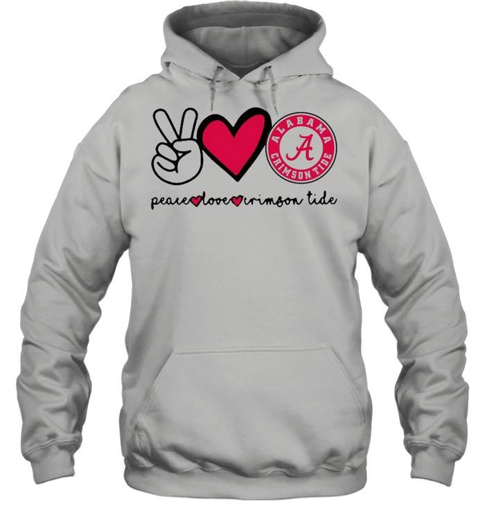 Peace Love And Alabama Crimson Tide Logo 2021 shirt Unisex Hoodie