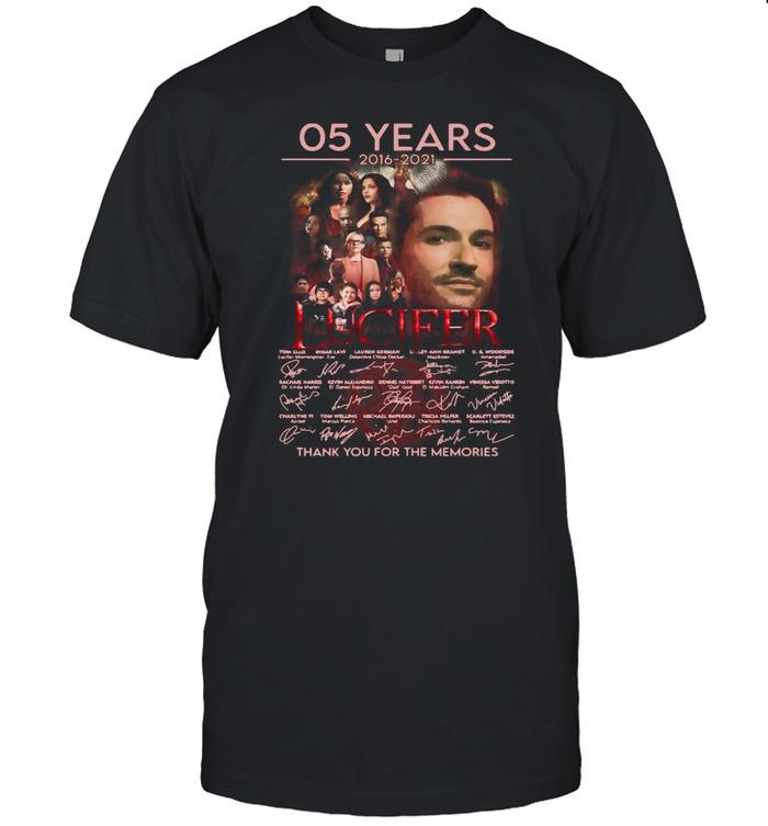 Lucifer 05 Years 2016 2021 Signatures Thank You For The Memories T-shirt