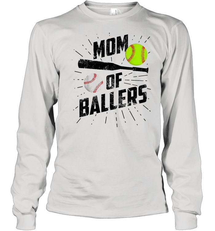 Mom Of Ballers Funny Baseball Softball Game Mothers Day Classic shirt Long Sleeved T-shirt