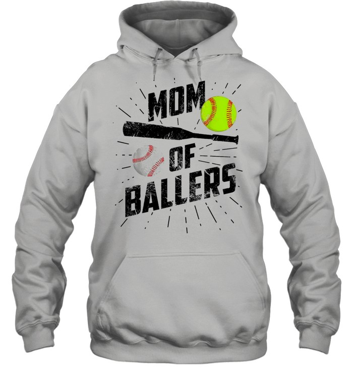 Mom Of Ballers Funny Baseball Softball Game Mothers Day Classic shirt Unisex Hoodie