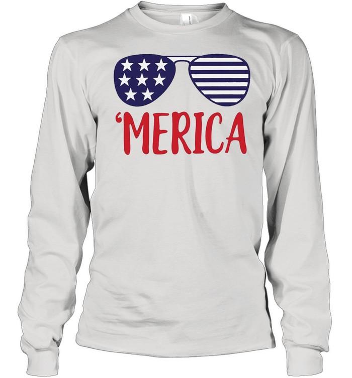 4th of July Merica Glasses Classic shirt Long Sleeved T-shirt