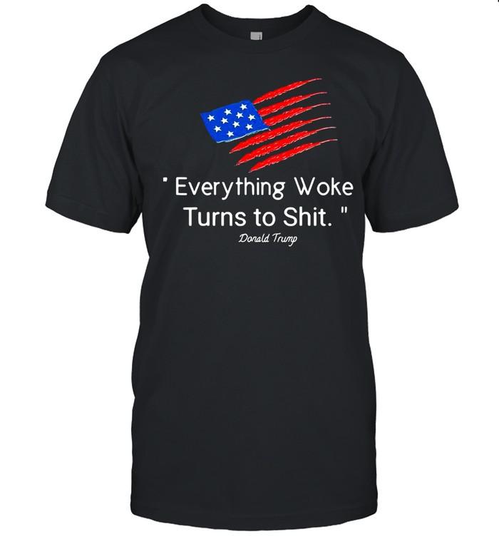 American Flag Donald Trump Everything Woke Turns To Shit 2024 T-shirt