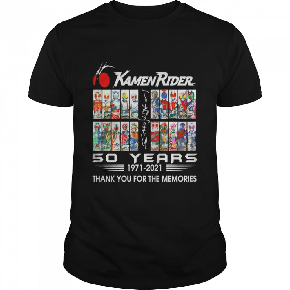 Kamen Raider signatures 50 years 1971 2021 thank you for the memories shirt