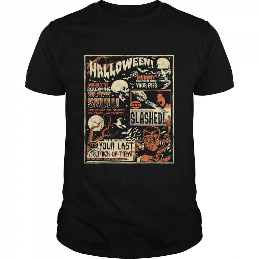 Vintage Horror Movie Shirts Poster Terror Old Time Halloween T-Shirt