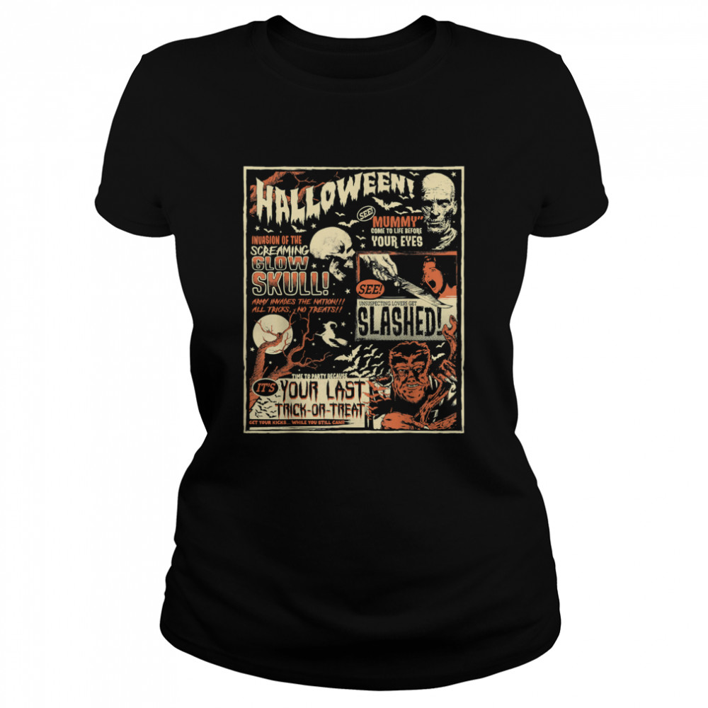 Vintage Horror Movie s Poster Terror Old Time Halloween T- Classic Women's T-shirt