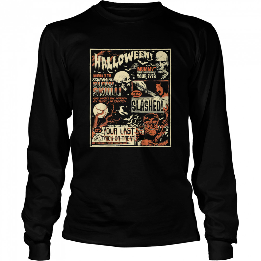 Vintage Horror Movie s Poster Terror Old Time Halloween T- Long Sleeved T-shirt