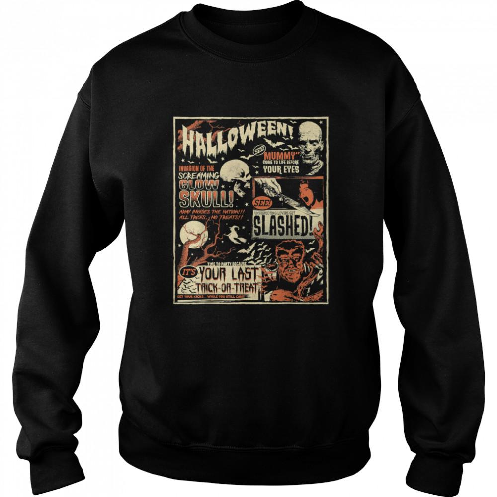 Vintage Horror Movie s Poster Terror Old Time Halloween T- Unisex Sweatshirt