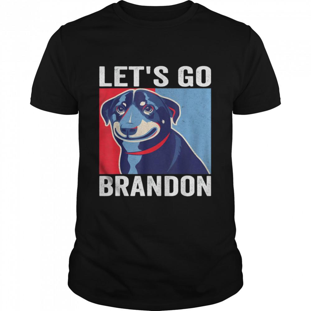 Vintage Smiling Dog Let's Go Brandon Meme T-Shirt