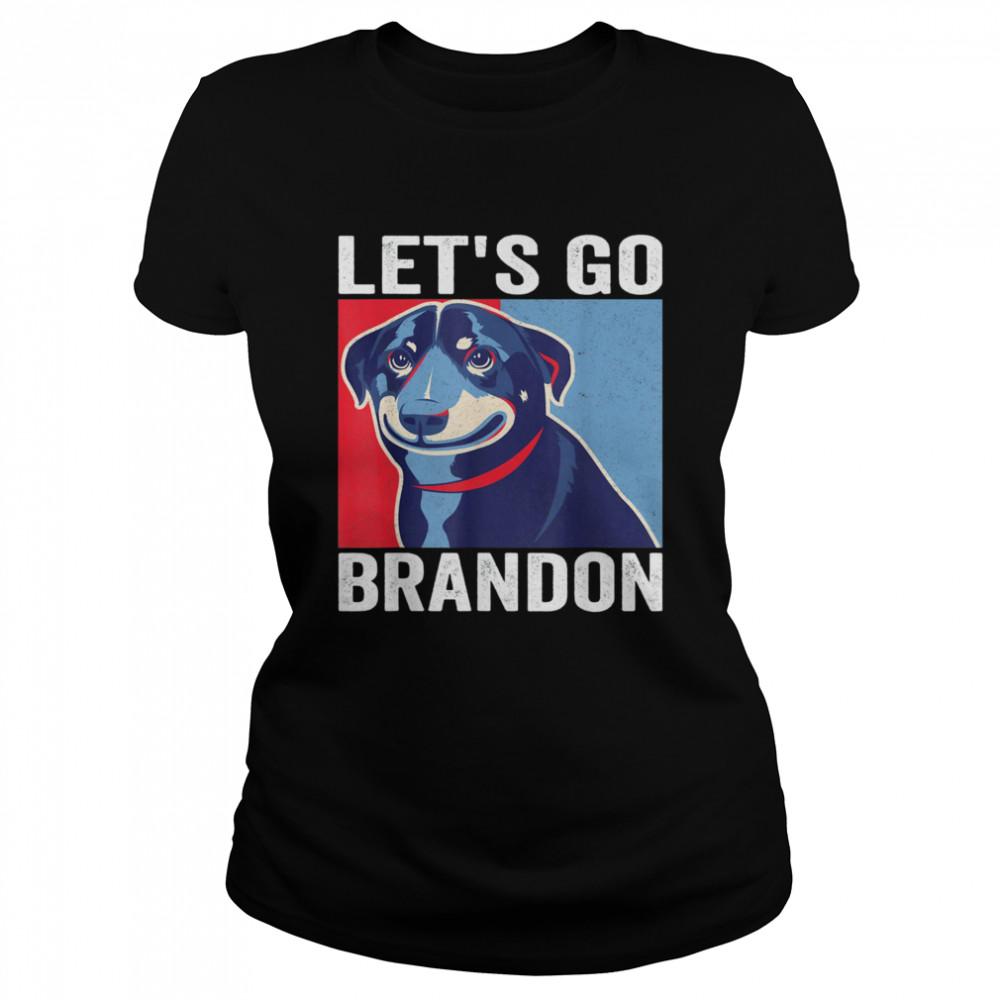 Vintage Smiling Dog Let's Go Brandon Meme T- Classic Women's T-shirt
