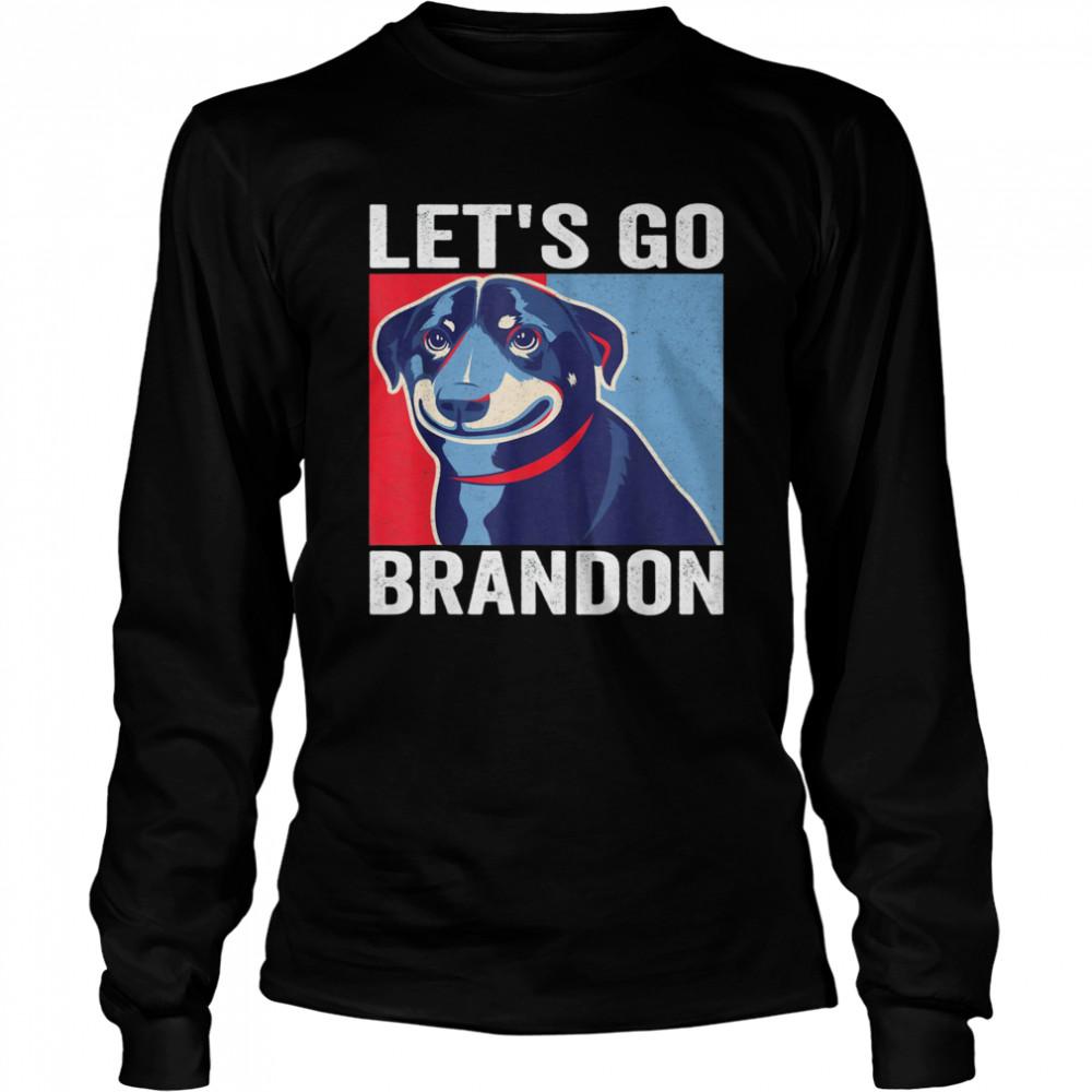 Vintage Smiling Dog Let's Go Brandon Meme T- Long Sleeved T-shirt