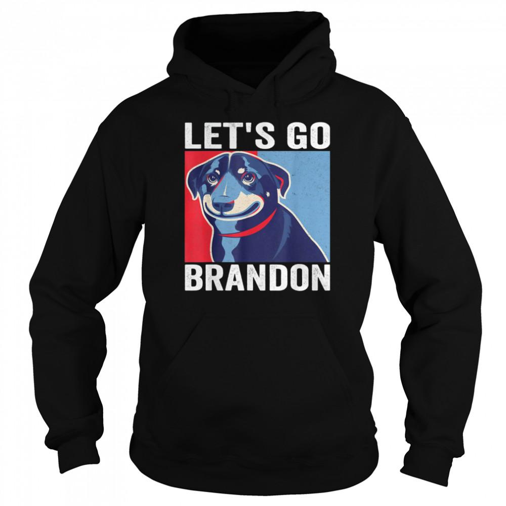 Vintage Smiling Dog Let's Go Brandon Meme T- Unisex Hoodie
