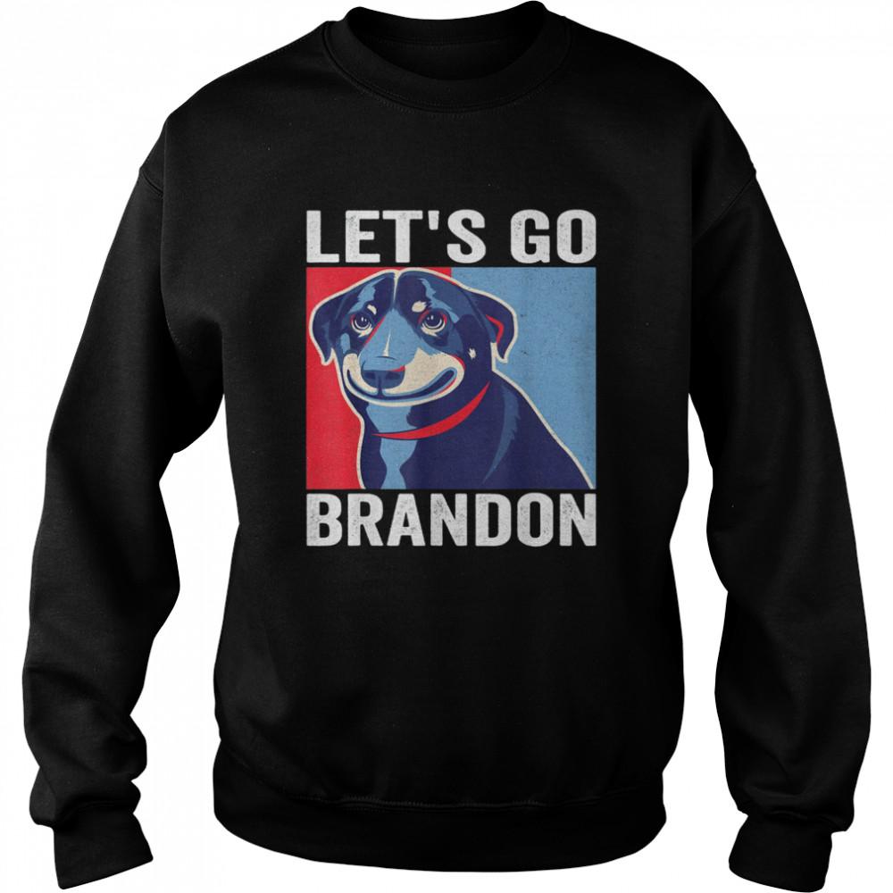Vintage Smiling Dog Let's Go Brandon Meme T- Unisex Sweatshirt